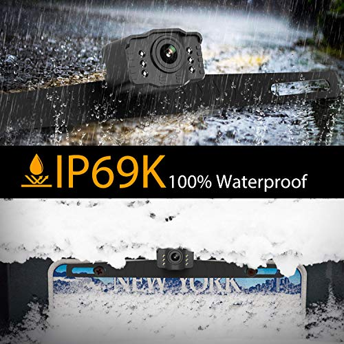Car Backup Camera Rearview Parking Vehicle S2 Camera by Xroose High Definition 6 infrared LED lights for Night Vision IP69K Waterproof Rate License Plate Mounted Optimum 149˚ Wide View Focus for Safty by Xroose (Image #3)
