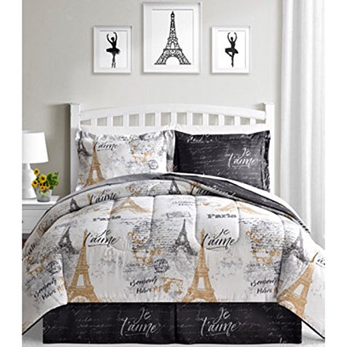 BonJour Paris, Eiffel Tower, Black, White & Gold Reversible Twin Comforter Set (6 Piece Bed in A Bag) + Homemade Wax MELT (Twin And A In Bag White Black Bed)