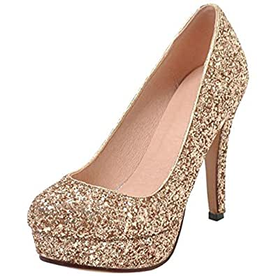 MisaKinsa Women High Heel Pumps Almond Toe Shoes Gold Size 43 Asian