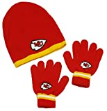 Kansas City Chiefs NFL Little Boys Knit Hat and Gloves Set - Red (Kids 4-7)