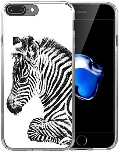 (8 Plus Case Zebra/IWONE Designer Non Slip Rubber Durable Protective Replacement Skin Transparent Cover Shockproof Compatible with iPhone 7/8 Plus + Zebra Animal)