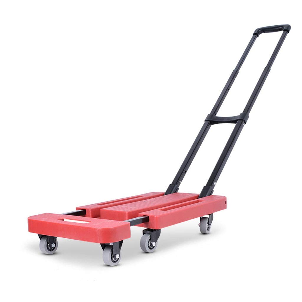 Xilinshop Portable Utility Carts Folding Portable Shopping Cart Pull Goods Small Trailer Home Shopping Cart ( Color : Red , Size : L )