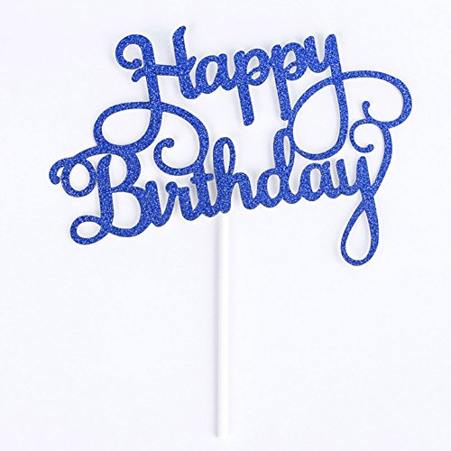 Gaosaili Happy Birthday Cake Topper Decoration Blue