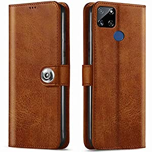 TheGiftKart Genuine Leather Finish Button Flip Cover Back Case with Inbuilt Stand & Inside Pockets for Realme Narzo 30A…