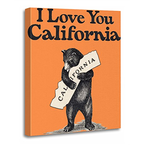 TORASS Canvas Wall Art Print Map I Love You California Bear State Artwork for Home Decor 12