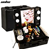 UNHO LED 4 Light Makeup Case with Lights and Tilt Mirror Makeup Case with Customized Dividers Large Makeup Artist Organizer Kit Black.