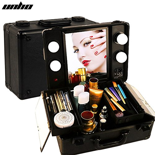 UNHO LED 4 Light Makeup Case with Lights and Tilt Mirror Makeup Case with Customized Dividers Large Makeup Artist Organizer Kit Black. by UNHO