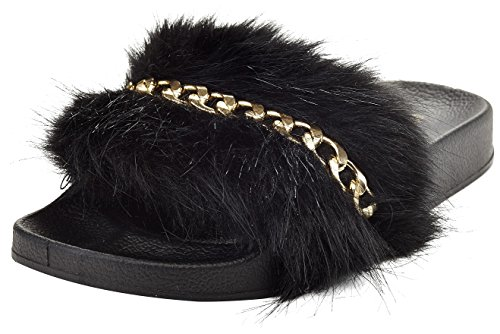 Henry Ferrera Womens Fur and Chain Design Slide Sandals by