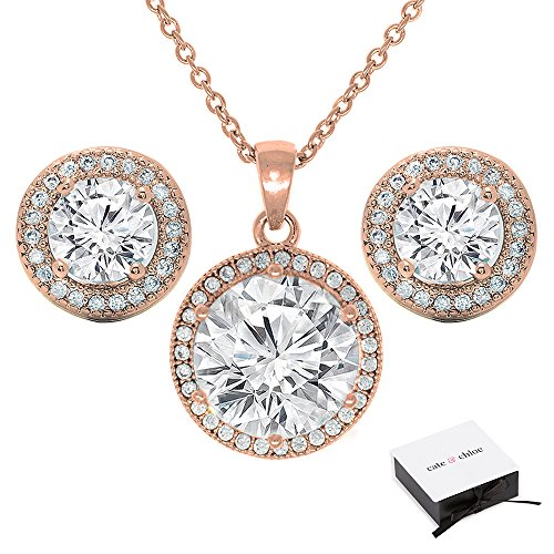 Cate & Chloe Mariah Jewelry Set, 18k Rose Gold Gemstone Pendant Necklace and Stud Earrings, Bridal Jewelry Set, Necklace Earring Set for Women, Rhinestone Jewelry Set
