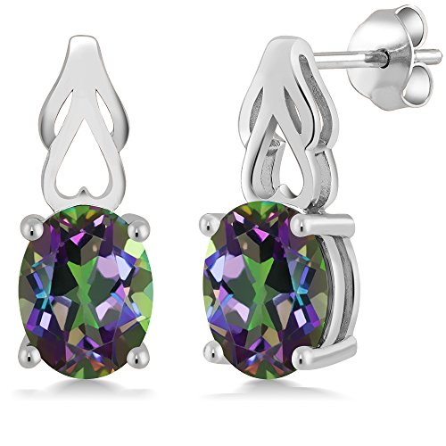 9x7 Oval Earrings (4.60 Ct Oval 9X7MM Green Mystic Topaz 925 Sterling Silver Women's Earrings)
