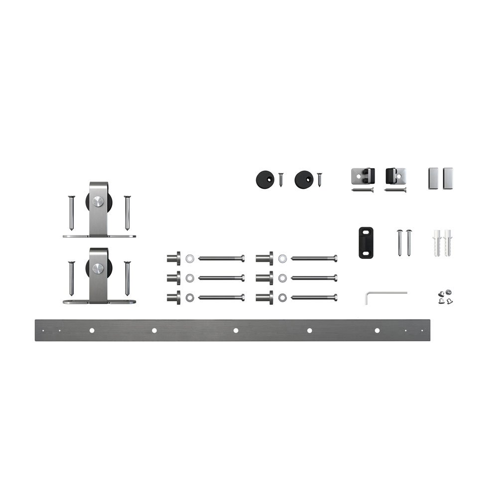 Architectural Products 48'' Mini Barn Door Hardware Kits for Single Cabinet Doors Top Mount Design in Stainless Steel FSDH-TOPMTKIT-SS-4 trimmable down to 43'' by Architectrual Products By Outwater (Image #2)
