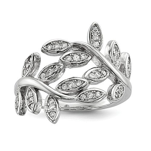 (925 Sterling Silver Leave Cubic Zirconia Cz Band Ring Size 7.00 Flowers/leaf Fine Jewelry Gifts For Women For Her)