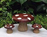 Miniature Dollhouse Fairy Garden Large Dark Red Mushroom Cap Table & Chairs