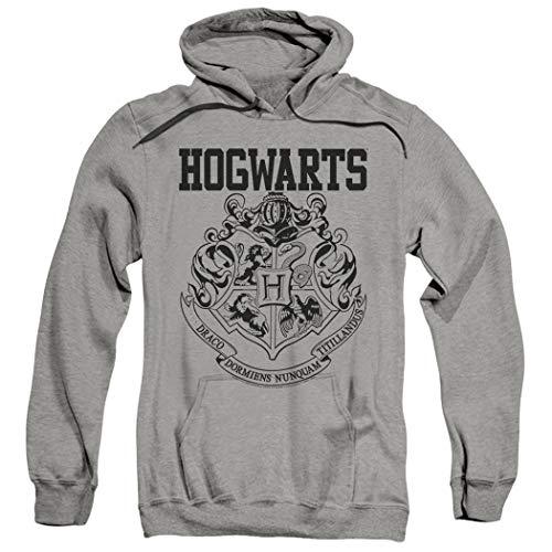 Popfunk Harry Potter Hogwarts Logo Pull-Over Hoodie Sweatshirt (Large) Gray