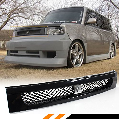 Fits for 2004-2007 Scion XB Glossy Black JDM Front Hood Mesh Grill Grille + Chrome BB Logo Emblem - Grill Xb Scion Front