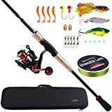 Sougayilang Unicorn baitcasting Travel Fishing Rod Reel Combos with AAA Portuguese Cork handle-4PC Protable Travel Fishing Pole