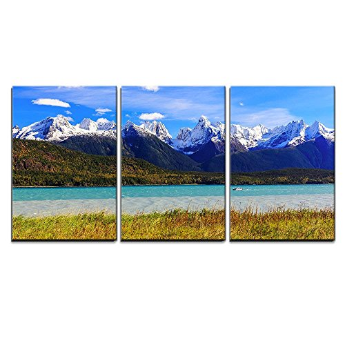 wall26 - 3 Piece Canvas Wall Art - Skagway, Alaska. Chilkat Peninsula, Chilkat Inlet and The Sinclair Mountain - Modern Home Decor Stretched and Framed Ready to Hang - 16