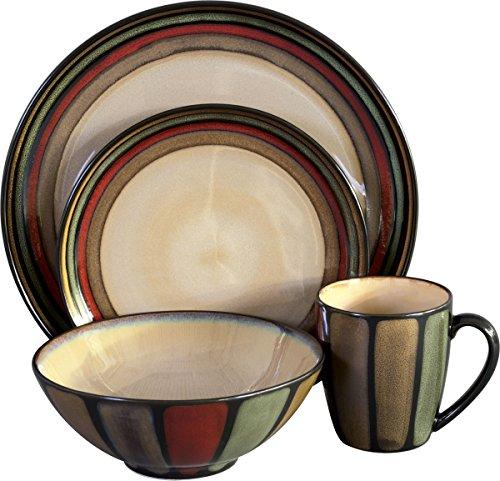 Sango 16 Piece Flair Dinnerware Set, Black (Rustic Stoneware Dinnerware Sets)