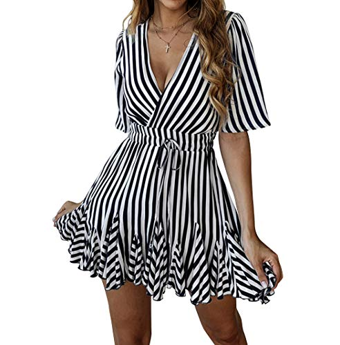 - Finerease Women's Deep V-Neck Short Sleeve Striped Mini Casual Ruched Dress (Black, Small)
