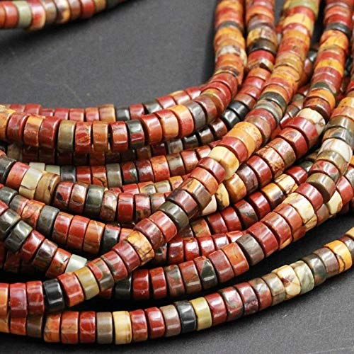 Jewelry Making Supplies - Red Creek Jasper Beads 6mm Heishi Rondelle Disc Beads Earthy Red Green Yellow Brown Multicolor Picasso Jasper Full 16 Strand