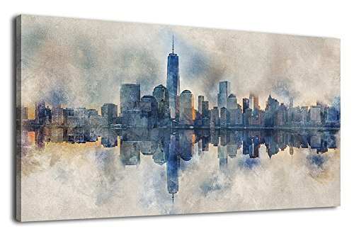 Canvas Wall Art Abstract Painting New York Skyline Reflection in Water Modern Canvas Artwork Long Modern City Skyscraper Contemporary Wall Art Pictures Grey Blue for Home Office Decoration 24