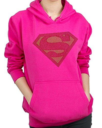 SUPERMAN HANDMADE Rhinestone Design Hoodie Sweatshirt (Superman Rhinestone)