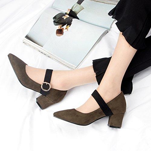 GAOLIM Las Mujeres Solteras En La Primavera Zapatos Gruesos Con Los Zapatos De Tacón Alto Zapatos Boca Superficial Estudiantes Mujeres Salvajes Zapatos De Punta El verde