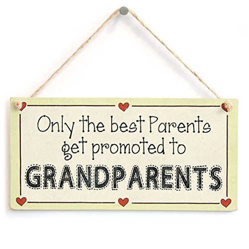 "Meijiafei Only the best Parents get promoted to Grandparents - Newborn Baby Grandparents Sign 10""x5"""