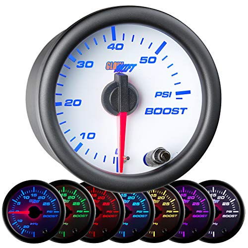 (GlowShift White 7 Color 60 PSI Turbo Boost Gauge Kit - Includes Mechanical Hose & Fittings - White Dial - Clear Lens - for Diesel Trucks - 2-1/16