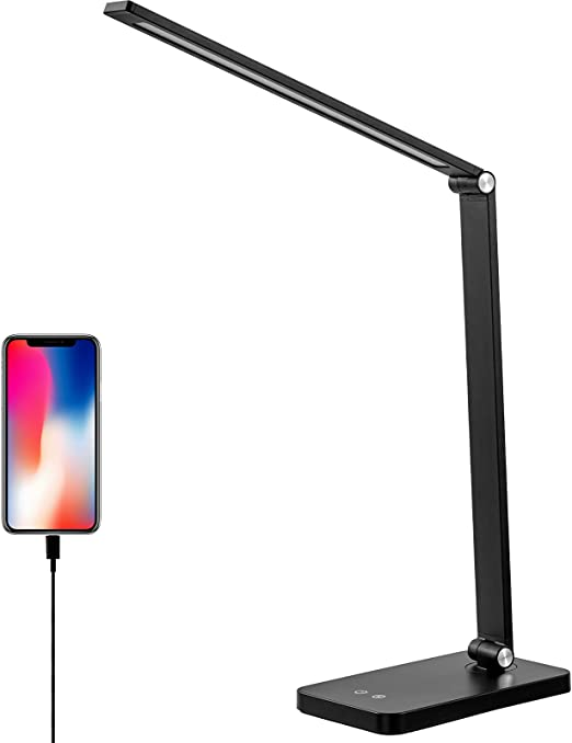 LED Desk Lamp Eye-Caring Table Light with USB Charger for Home Office, 5 Lighting Modes with 3 Brightness Levels Study Desk Light Flicker Free, Touch Control Foldable Bedroom Office Lamps, U-Black