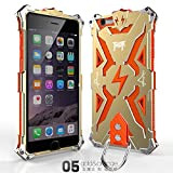 Iphone 6 Plus 6s Plus Case, Lwang Outdoor Sports Strong Protective Case for Iphone 6 Plus 6s Plus,[tempered Glass Screen Protector][silicone Case][aviation Aluminum Cover] (Thor Gold/orange)