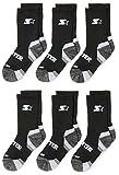 Starter Boys' 6-Pack Athletic Crew Socks, Prime Exclusive, Black, Medium (Shoe Size 4-9.5)