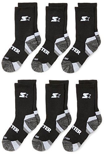 Starter Boys' 6-Pack Athletic Crew Socks, Amazon Exclusive, Black, Small (Shoe Size 9-3.5)