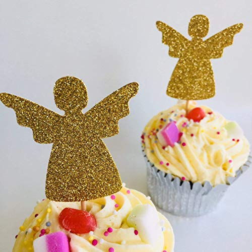 12 x Angel cupcake topper, party decor, gold glitter cupcake topper, Birthday party decorations, table decorations, baby shower party