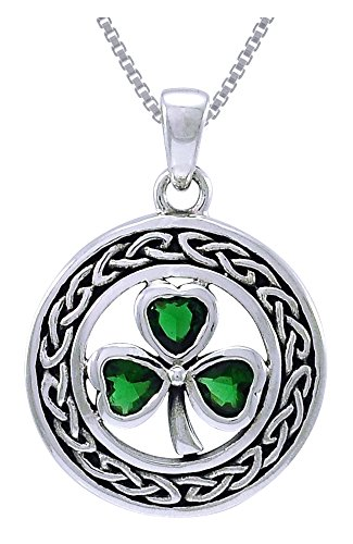 Jewelry Trends Sterling Silver Celtic Clover Pendant with Green Glass on 18 Inch Chain Necklace