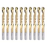 HQMaster 1/8''(3.175mm) Shank Dia. Titanium Coated Single Edged Flute Milling Cutter CNC Router End Mill Engraving Bits Upcut Bit Tungsten Steel Flute Length 22mm, OAL 38.5mm, Pack of 10
