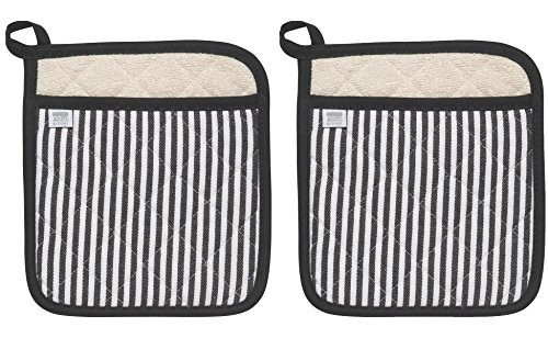 (Now Designs Superior Potholders, Set of Two, Narrow Stripe Black)