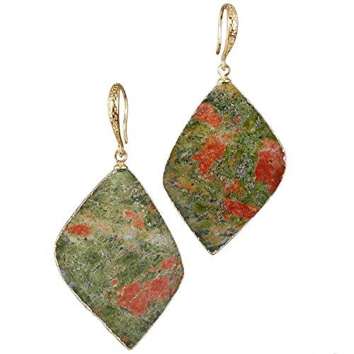 (SUNYIK Unakite Leaf Shape Dangle Earrings for Women,Gold Plated)