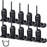 Retevis RT27 Walkie Talkies Rechargeable License-Free FCC Certification Interference-Free Rugged Two Way Radios (Black,10 Pack) and Programming Cable