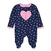 Carter's Baby Girls' Footie Sleep N Play (Newborn, Navy Floral/Heart)