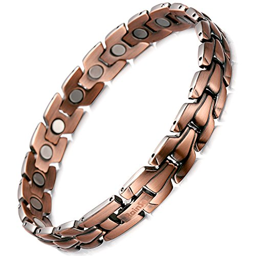 Rainso Mens Copper Magnetic Therapy Bracelets for Arthritis Wristband Adjustable