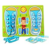 Basic Skill Learning Board for Toddlers, Learn To Tie Your Shoe, Wooden Lacing Sneaker Training Shoe Educational Toys Play Activity Puzzle Games for Kids