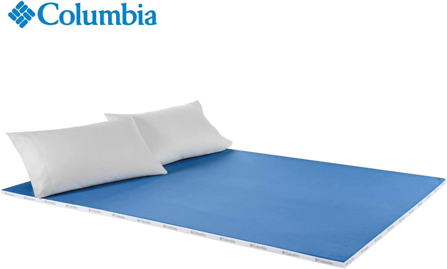 "Columbia Revolutionary Extreme Cooling 1"" Memory Foam Mattress Enhancer - Molds to Your Body Enhancing Sleep - Omni-Wick Washable Cover Pulls Away Moisture - Like Sleeping on a Sheet of Ice - King"