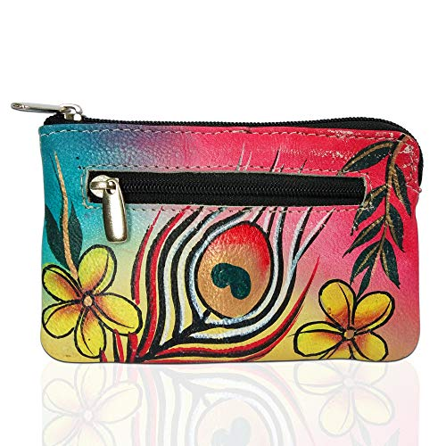 (Louis Pelle RFID Blocking Hand Panted Coin Change Pouch Genuine Leather Minimalist Women Wallet (Peacock Feather))