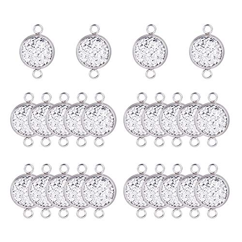 (PandaHall Elite 30 pcs 12mm 304 Stainless Steel Circle Pendant Trays Connector Charms with 30 pcs 12mm Resin Cabochons for Crafting DIY Jewelry Making)