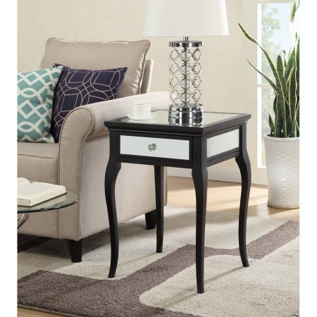 Timber Log 1 Drawer (Convenience Concepts Milan Mirrored End Table with 1 Drawer - Black)