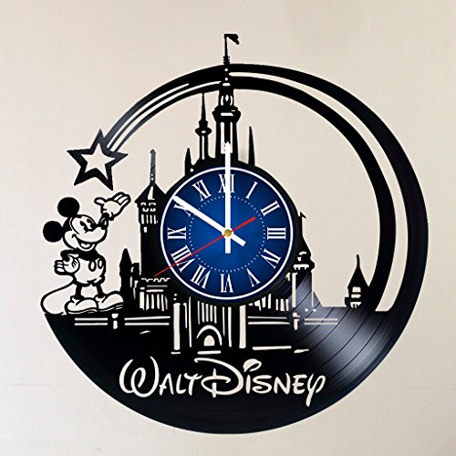 Disney Art 12 INCH/30 CM Vinyl Record CLOCK - Modern Large Walt Disney Mickey Mouse and Minnie Mouse Art - GIFT FOR GIRLS - Gift idea for children, teens, -