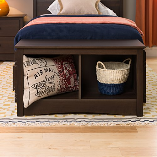 Espresso Twin Cubbie Bench (Small Entryway Bench With Storage)