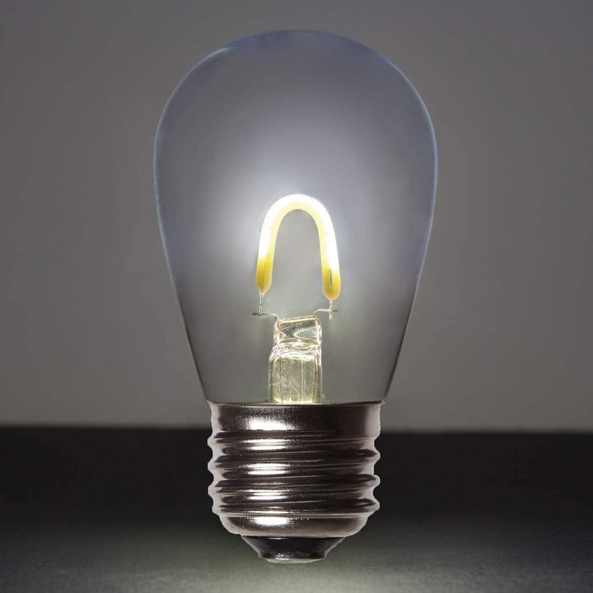 Glass, Cool White Wintergreen Lighting 5 Pack Cool White FlexFilament S14 LED Edison Light Bulbs 1W Bistro Lights Backyard Lights Patio String Lights LED Decorative Lights