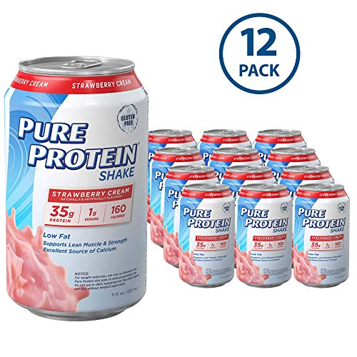 Pure Protein Ready to Drink Shakes, High Protein Strawberry, 11oz, 12 count (Shake Power Core Protein)
